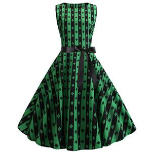 2019 Dress Women Vestidos Verano Women Vintage Retro Sleeveless O Neck Print Evening Party Prom Swing Dress