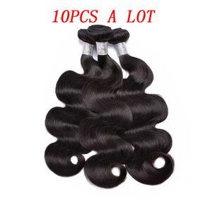Prix de gros Bodywave brésilien 10pcs beaucoup 100% de cheveux vierges avec livraison gratuite