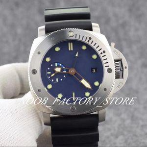 Luxo Azul Dial clássico PAM00371 Power Reserve movimento automático 47 milímetros Men Watch Rotating cerâmica pulseira de borracha preta moldura Diving Men Watch