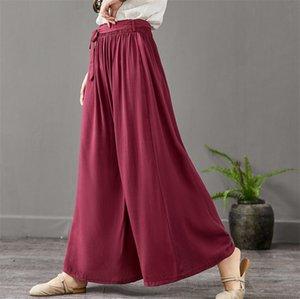 2020 Summer Women Wide Leg Pants Vintage Casual Loose Elastic Waist thinTrousers Cotton linen Pants Oversized Plus Size 6xl 7xl