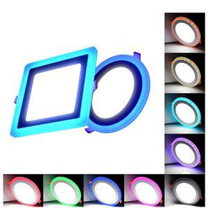 Pannello LED Light Round Square Warm White Bule 6W 9W 16W 24W soffitto delle luci di pannello da incasso incasso 3Model doppi colori LUCI pannello LED