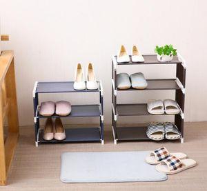 chaussure rack de stockage tissu maison assemblage Creative étagère à chaussures solide couleur simple étagère à chaussures non tissé Salon chambre à coucher en gros