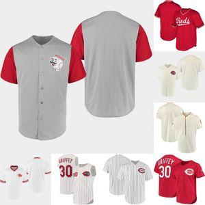 Männer Cincinnati weiß Navy 1919 Johnny Bench Barry Larkin Chris Sabo Ken Griffey Jr. 1969 Johnny Bench 1912 Retro Baseball-Shirts