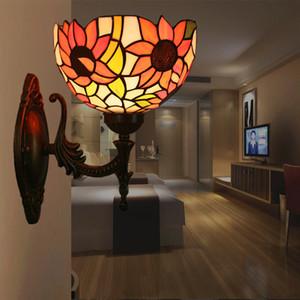 Tiffany Girassóis Wall Lamp Sala Wall Light vitral LED arandela Home Lighting para Escadas Corredor Quarto Restaurante