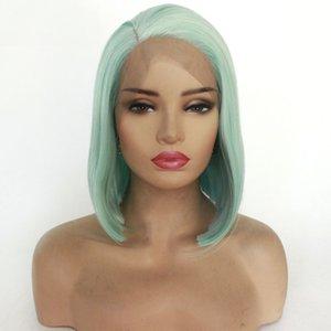Luz Moda Verde peruca sintética suíço rendas frente Wigs Glueless Curto Bob Penteado peruca completa por Mulheres reta de seda cabelo diariamente Cosplay