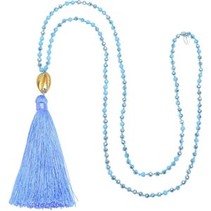 KELITCH Sky Blue Silk Tassel Bohemian Necklaces Charm Handmade Beads Strand Beach Shell Cowrie Necklaces Chokers Long Chain