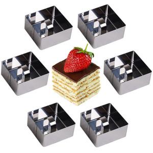 Square 6pcs / set Anelli di cottura in acciaio inox Dessert Anelli Mini Cake e Mousse Ring Set di stampi con Pusher