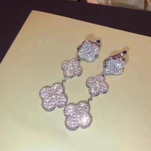 Lussuoso qualità superiore di marca 925 disegno sterling orecchino del fiore e orecchini per i monili delle donne di nozze trasporto di goccia regalo