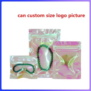 Proof Taschen Mulit Größe Reclosable Mylar Taschen Resealable Klar schöne Holographic Rainbow Color Verpackungsbeutel riechen