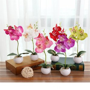 Artificial Flower Butterfly Orchid Phalaenopsis Bonsai Flower Art Accessories Desktop Courtyard Craft Ornament Potted Plant