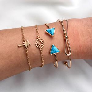 S1002 Hot Fashion Jewelry Vintage Bracelet Set Triangle Turquoise Bowknot Hollowed Circle Coconut Palm 4pcs set Bracelets