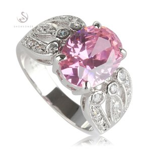 SHUNXUNZE Rave reviews best sell Engagement Wedding rings Jewelry & Accessories for women Pink Cubic Zirconia Rhodium Plated R534 size 6 - 9