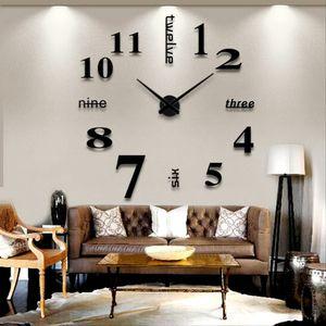 Gran espejo del reloj de pared nuevo de la llegada del hogar Decoración del diseño moderno DIY 3D grande de la pared decorativos relojes de regalo reloj único