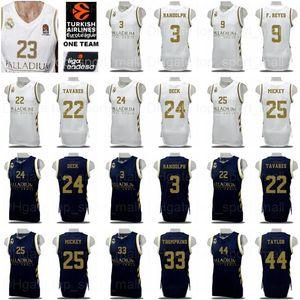 Pullover di pallacanestro del Real Madrid Baloncesto 9 Felipe Reyes 3 Anthony Randolph Trey Thompkins 25 Mickey Walter Tavares Usman Garuba Shirt Kit