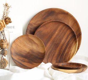 Nueva placa de Arte Acacia platos de madera Placas Bandeja Plato de postre té placa redonda de la plaza de vajilla al por mayor de rectángulo