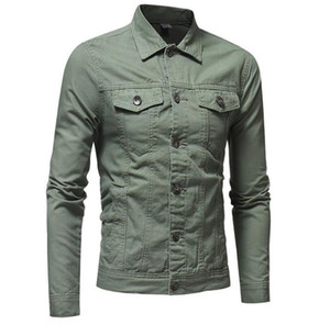Mann-Herbst-Designer Jeansjacke Laperl Ausschnitt Langarm Solid Color Homme Coats Mode Procket Männlich Kleidung