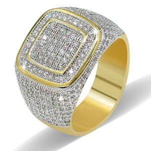 Key4fashion Ücretsiz Kargo Sıcak stil moda Avrupa ve Amerikan erkek altın kaplama zirkon yüzük titanyum çelik mikroişlemci bling bling ...