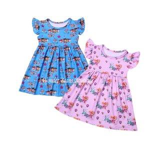 Pink Blue Girls Dress Cute Puppys Kids Dresses for Girls Summer Clothes Milk Silk Dogs Printed Cartoon Charactor Toddler Dress