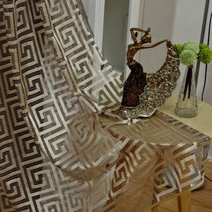 Salon Yatak odası Otel Dekor Şeffaf Perde Voile Kollokasyon Özel Gazlı bez Net Izgara Tül cortinas İçin Retro Voile Perdeler