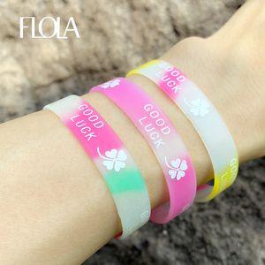 FLOLA Luminous Silicone Bracelets For Women Sports Wristband Bracelet Bangles Fashion Printing Rubber Wrist Strap Jewelry brtc36