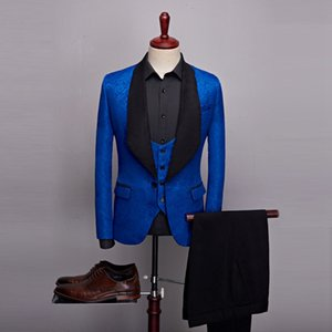 High Quality One Button Royal Blue Embossing Groom Tuxedos Shawl Lapel Men Suits Wedding Prom Dinner Best Man Blazer (Jacket+Pants+Vest)