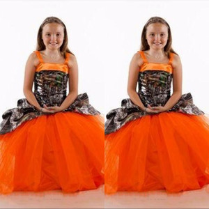 Spaghetti Camo Satin Orange Flower Girls Vestidos Tulle Falda Largo Personalizado en línea Niños Formal Party Bods Girl Wedding Fiesta Wear