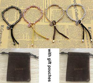 New York Berühmter Stylist Armband-Frauen-Mann-Perlen Armbänder Gold Silber Rose Goldton Perlen M-Plakette Stretch-Armband