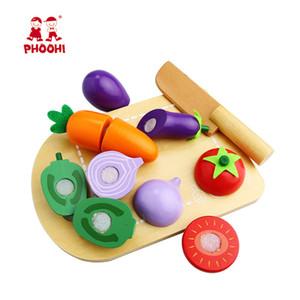أطفال خشبية قطع الخضروات لعبة الأطفال نتظاهر مطبخ الغذاء تلعب لعبة للطفل PHOOHI Y200428