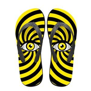 Noisydesigns femminile infradito 3D Occhi stampati sandali comodi mocassini alla moda Toe all'aperto pantofole antiscivolo donne piane