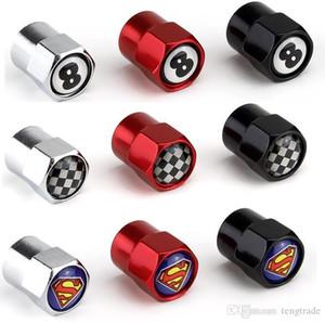 Três cores Mini-Metal válvulas de válvulas de válvulas de válvulas de pneus Capas de poeira de carros emblema emblema preto 8 bandeira F1 Superman [269 logotipos disponíveis]