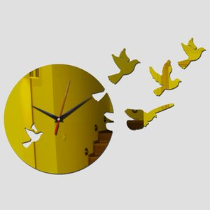 Fashion modern style wall quartz clocks home decor wall watches diy mirror acrylic material single face wall stickers for study
