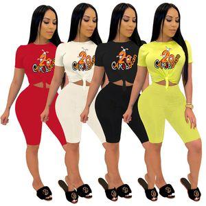 Women Summer designer flora printed two piece Set tracksuit T-Shirt+Shorts Jogging Suit S-2XL Tee Tops sportswear shorts suits 3446