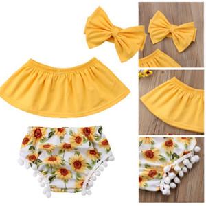 Emmababy 3 adet Yenidoğan Bebek Bebek Kız Giysileri Set Kapalı Omuz Tops + ayçiçeği Püskül Şort + Kafa Kıyafet giyim Seti