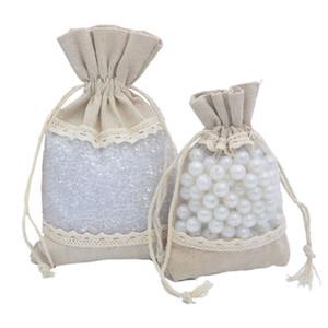 Polyester-cotton cloth bag Drawstring Draw string gift bag recycle storage bags lace edge environment-friendly 10x14cm 13x18cm