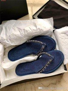 Primavera / verano 2020 nueva mezclilla de eslabones flip-flop damas elegantes metálicos cadena de punto flip-toe planas deslizadores de las sandalias con el empaquetado original