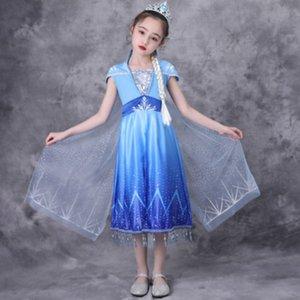 Girls Dress manga curta Impresso vestido de crianças Verão Princesa Vestidos Novidade Estilo Saias meninas de luxo Bola Vestidos 2020 New