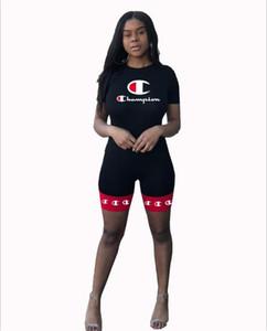 Kadınlar Eşofman Şampiyonu Harf fermuar ceket Spor Giyim Takım Elbise kıyafeti S-XL sıcak Uzun Kollu Crop Top + Pantolon Tayt 2PCS Set Print