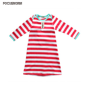 Christmas Toddler Kids Baby Girls Boys Long Sleeves Nightgown Nightdress Cotton Stripes Long Sleep Dress