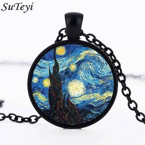 SUTEYI Classic Glass Dome Starry Night Gogh Pendant Necklace Art Picture Cabochon Men Women Jewelry Handmade Birthday Gift