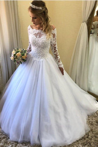 Summer Tulle A-Line Wedding Dresses with Long Sleeves Off Shoulder Appliques Lace Sweep Train Bridal Gowns Vestido De Noiva