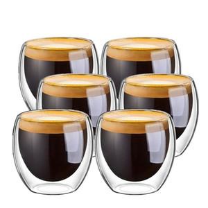 Tazza di tè di vetro a doppia parete di calore resistente tazze di caffè Teacup creativi bicchieri di birra Coppe tazza di birra della tazza Drinkware 250ml / 350ml / 450ml