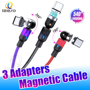 2.4A USB Charger 3 in 1 Magnetic Cable Micro USB Type C Nylon Braided Charging Cord for Huawei LG Android Cellphone izeso
