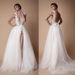 2019 Свадебные платья Цветы ручной работы A-Line Широкие разрезы V-образным вырезом без рукавов Аппликации Спинки на заказ Пляжные свадебные платья Dreses