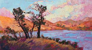 --pastel-lake-- Ungerahmt moderne Leinwand Wandkunst für Heim und Büro Dekoration, Ölgemälde, Tiermalereien, Rahmen.