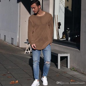 T-shirts tricotés Mens Couleur Tops Simple Pull Sweater Solid Match Fall Automne TPCIP TPCIP