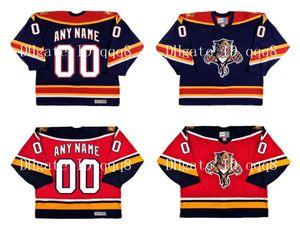 Custom VINTAGE FLORIDA PANTHERS Jerseys Personalización Jerseys de hockey sobre hielo Rojo Blanco Cosido Cualquier nombre Número Tamaño S-XXXXL