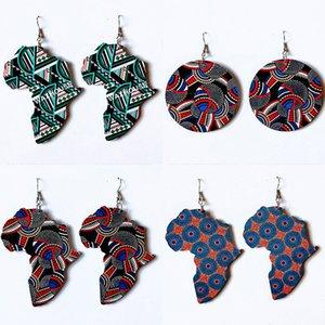 Kadınlar için Afrika haritası şekil ahşap küpe Etnik deyimi damla küpe basit bir kız aksesuarları yuvarlamak renkli desen Tedarik Üreticileri