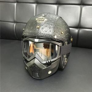 Retro Für Helm Motorrad / Motocross 3/4 Vorhaut Herbst Leder Jethelm Männer Frauen Handgemachte Personalisierte Benutzerdefinierte Helm