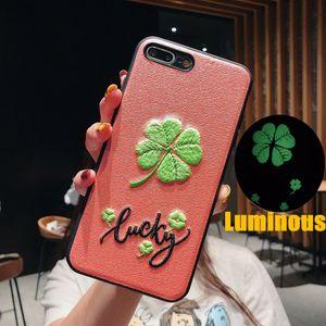 Bordado 3D Cajas del teléfono luminoso Lucky Clover Grass contraportada para Samsung Note 9 S8 S9 PLus Samsung S10 S10 Plus