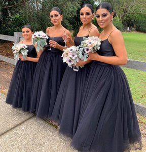 Black Tutu Long Bridesmaid Dresses 2020 Spaghetti Straps A Line Tulle Long Wedding Guest Dresses Formal Party Maid Of Honor Dress BM1908